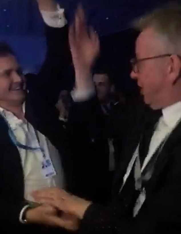 Hilarious footage that emerged today shows the Levelling Up Secretary, 54, arm in arm with Tom Tugendhat as they spin and twirl each other to Whitney Houston's I Wanna Dance With Somebody