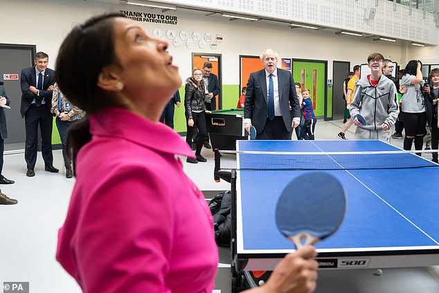 On a visit to a youth centre in Manchester on Sunday, Mr Johnson and Priti Patel tried their hand at some table tennis
