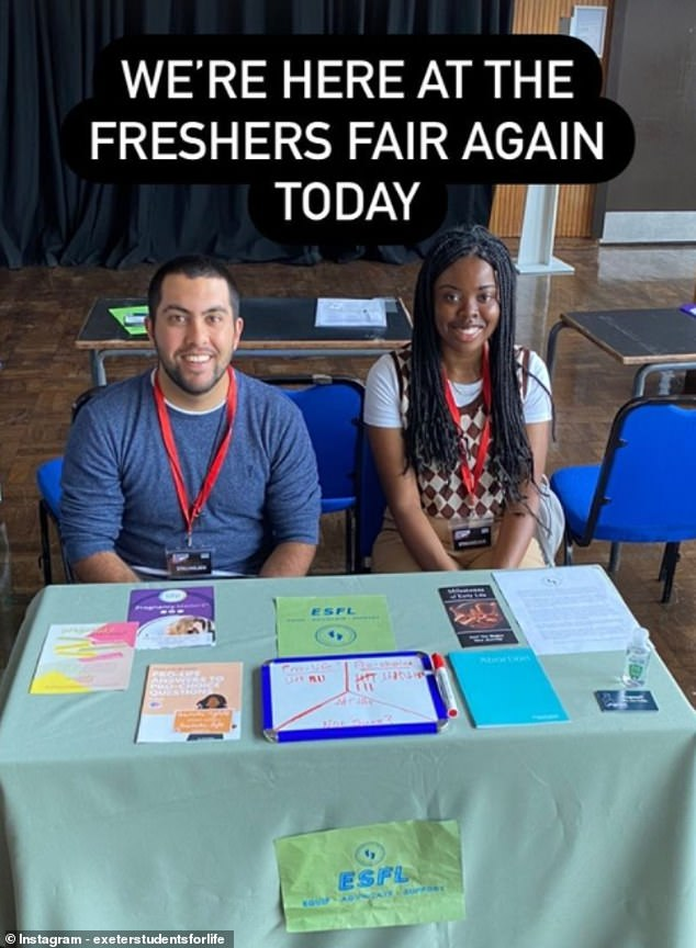 The president, left, and outreach officer, left, of the Exeter Students for Life society, which promotes pro-life, pictured canvassing for new members at a recent Freshers' Fair at Exeter University