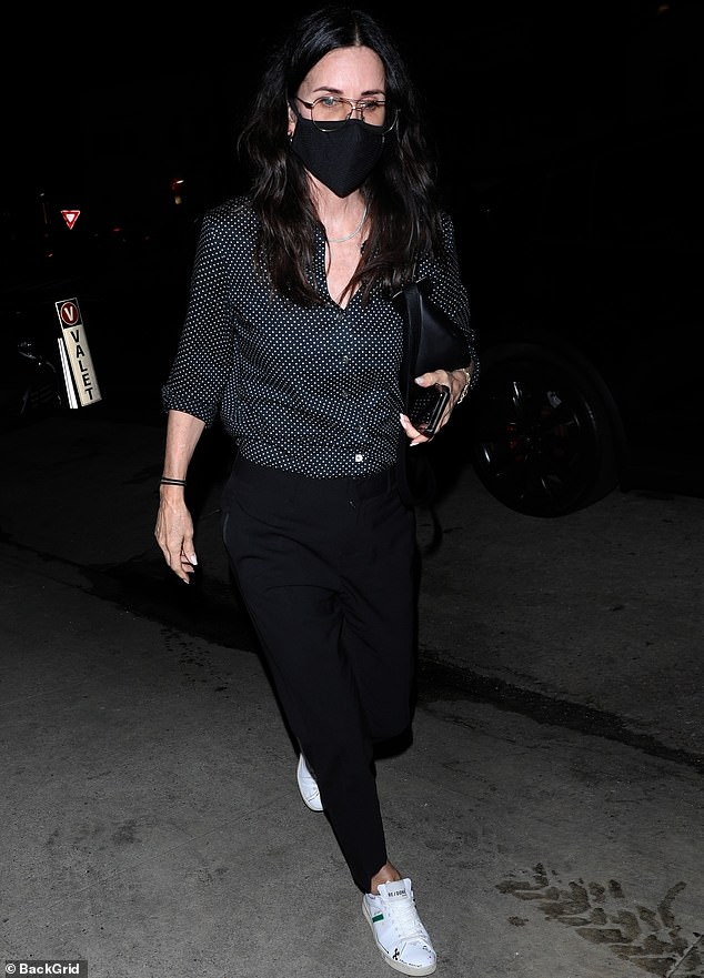 Snazzy look: Courteney Cox cut a fashionable figure when she stepped out to dinner in Santa Monica this Tuesday evening