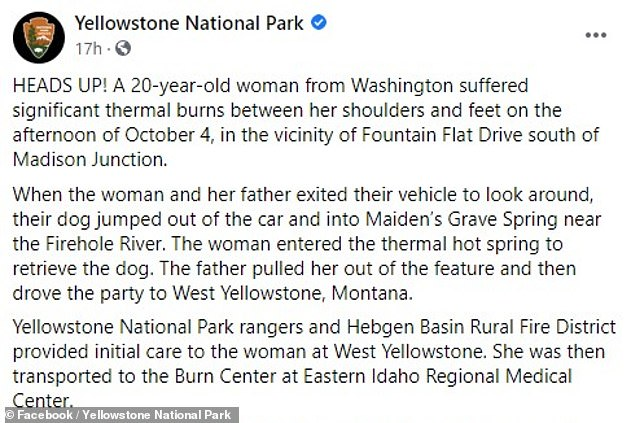 , Woman, 20, suffers horrific burns while trying to save dog from 190°F thermal spring at Yellowstone, Nzuchi Times National News