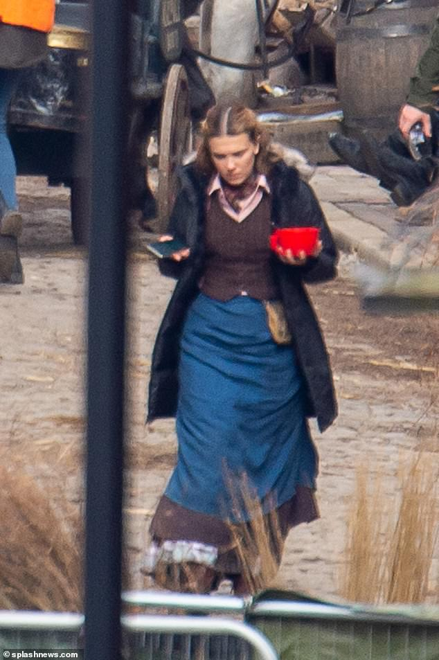 Spotted:Millie Bobby Brown was pictured on set for the first time while filming scenes for Enola Holmes 2 in Hull on Monday