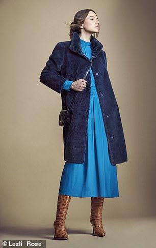 Coat, £189, hush-uk.com; dress, £275, Iris + Ink at outnet. com; bag, £110, jigsaw-online. com; and boots, £195, dune london.com
