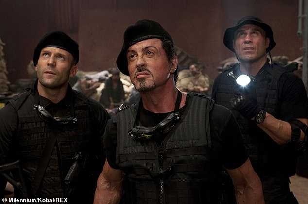 Talented: Sly starred in and directed the first installment of the series in 2010, and reprized his role in two sequels (pictured in 2010, center, Jason, left, and Randy Couture, right).
