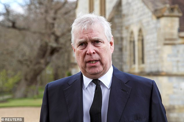 The Duke of York (pictured in April after the death of his father, Prince Philip) has come under intense scrutiny for his friendship with paedophile financier Jeffery Epstein, and has been accused of sexually abusing Virginia Giuffre at Epstein's New York home two decades ago