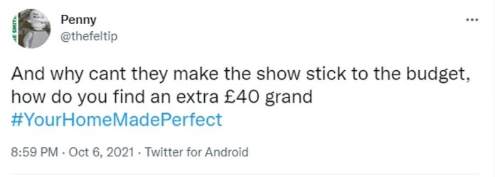 While Victoria and Raheel were delighted, viewers were outraged that the project had exceeded budget by at least £40,000.