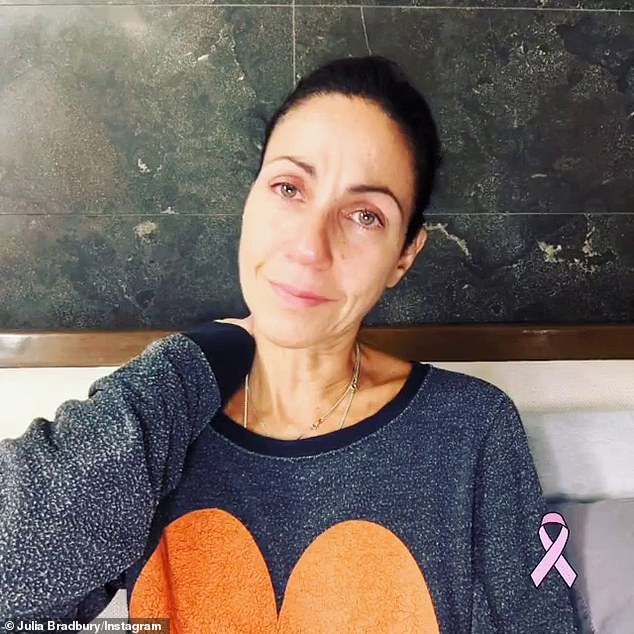 'Sometimes you just feel overwhelmingly sad': Julia Bradbury posted a candid sombre photo and detailed the realities of being diagnosed with breast cancer and self-isolating on Thursday