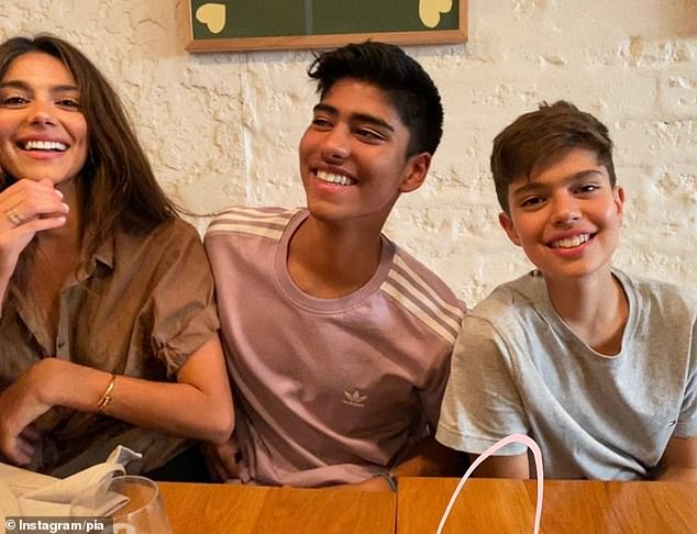Mother: Pia has two sons with Brad being the father of Lennox, 15, (far left). She has son Isaiah, 18, (middle) from a previous relationship