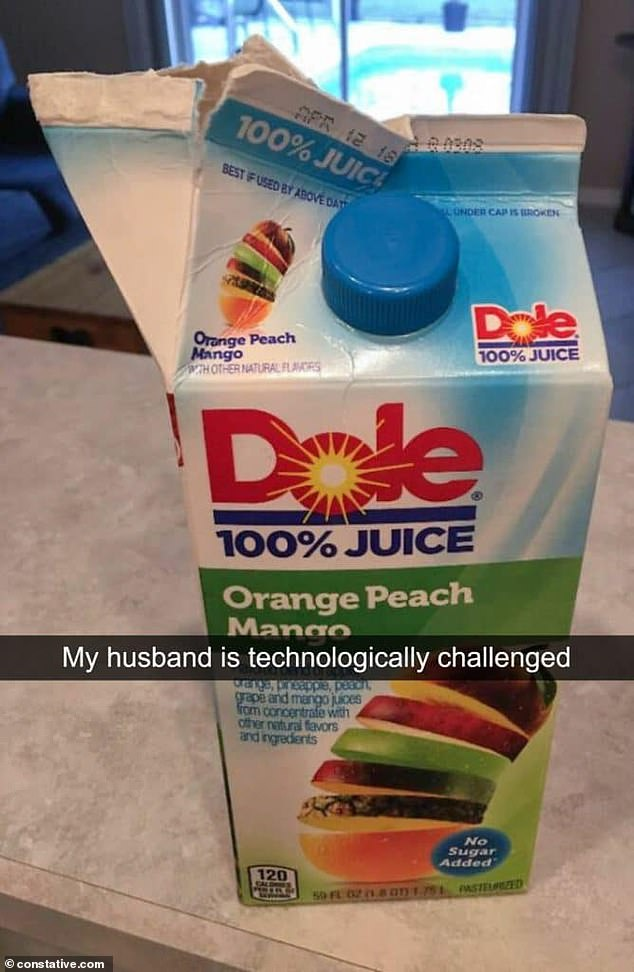 Another woman was left speechless when her husband decided to rip open the juice box instead of opening the lid