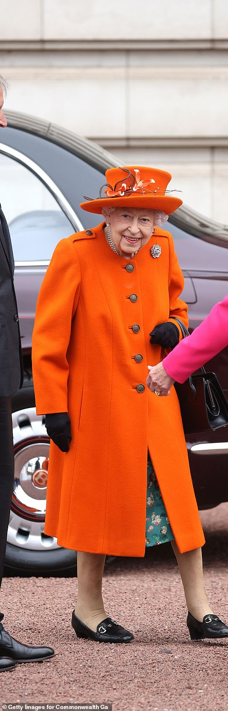 The royal appeared in good spirits as she arrived at her first official engagement at the palace in 18 months