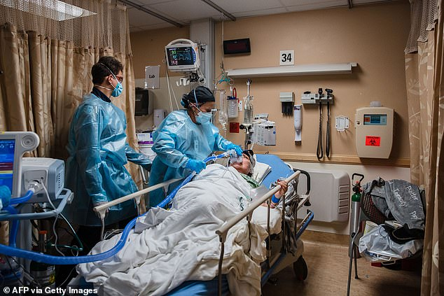 ICU treatment is required, often in the most severe cases of the virus, leaving someone at highest risk of developing serious medical complications.  Pictured: A patient is placed on a ventilator in an Apple Valley, Calif., ICU, Jan. 11