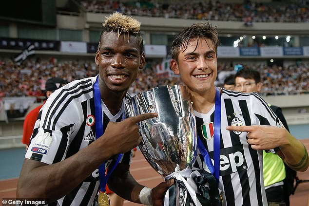 Paul Pogba (left) reveals he is still in communication with several Juventus players such as Paulo Dybala (right)