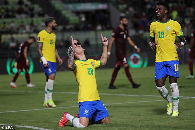 Brazil debutant Antony scored in stoppage time to seal it for the five time world champions