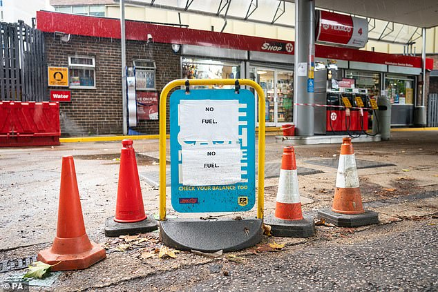 Official figures released yesterday said tankers kept a steady supply of fuel to petrol stations throughout the summer and start of September (Texaco petrol station in London, pictured)