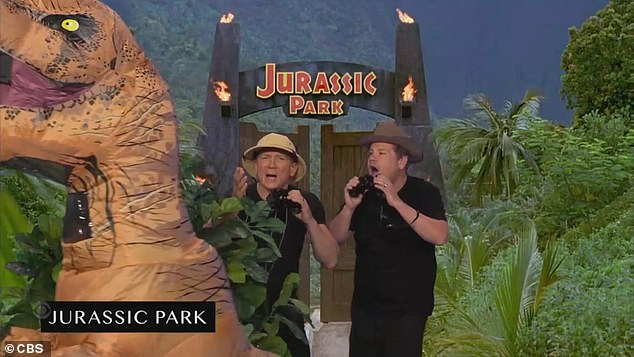 Quick cuts:Craig and Corden during the quick-change, green screen skit started by recreating Jurassic Park