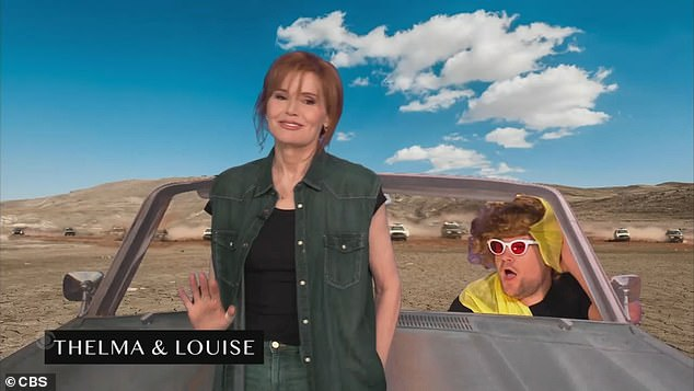Road trip:Geena Davis, 65, also made a cameo for their turn at the 90s road trip classic Thelma & Louise