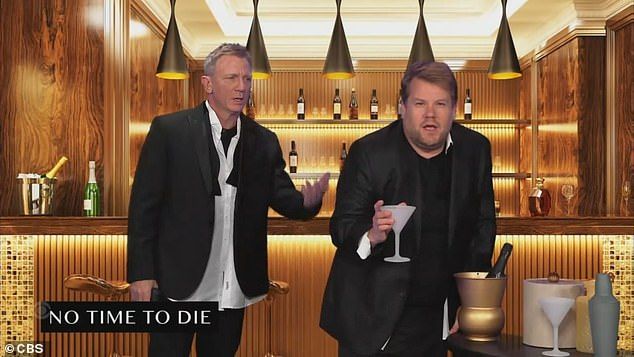 Someone else:'Come on, mate, give me a break. It's your last Bond movie, give someone else a shot. Yeah, let's do it. Come on. Appletini, shaken not stirred,' Corden said