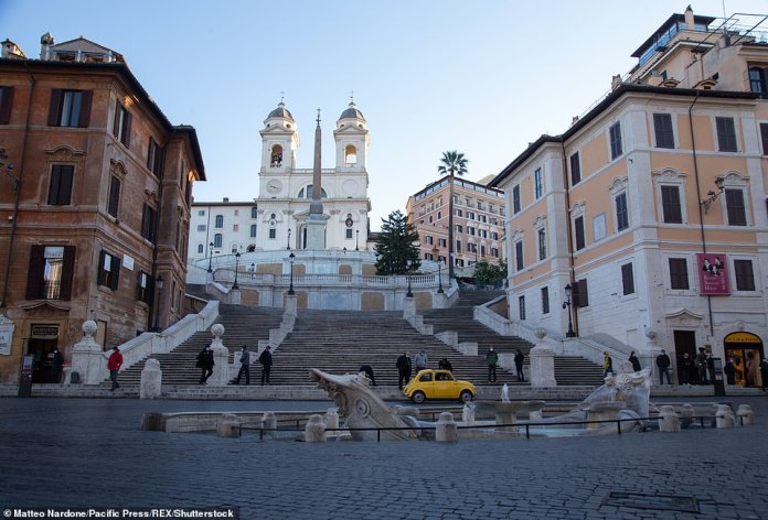 Filming for Mission Impossible 7 taking place at the foot of the Spanish Steps, with Hotel Hassler in the background