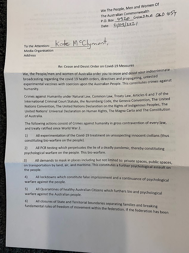 Kate McLeimont, an investigative reporter for the Sydney Morning Herald, revealed on Friday she was targeted by the group and shared a photo of the bizarre letter