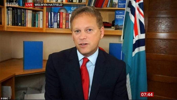 Transport Secretary Grant Shapps, seen on BBC Breakfast today, said petrol station supply levels are 'close to normal range'
