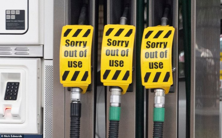 Some pumps were out of fuel at a Tesco petrol station in South East London today