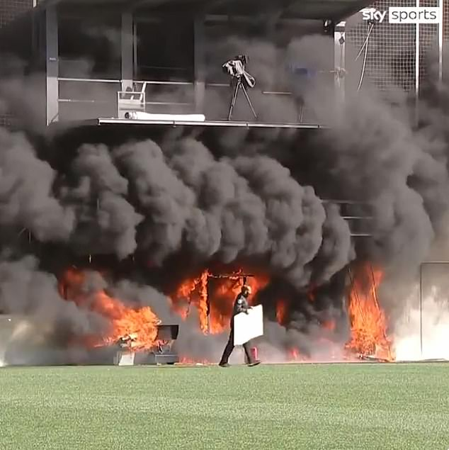 A fire has broken out in dramatic scenes at the Estadi Nacional in the capital of Andorra