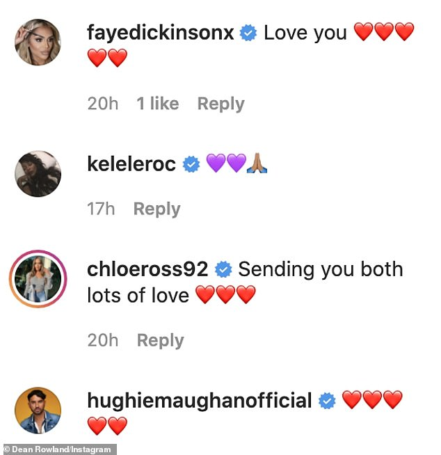 Support: Harry is yet to comment on the break up however many friends and fans rushed to send their love to the former couple