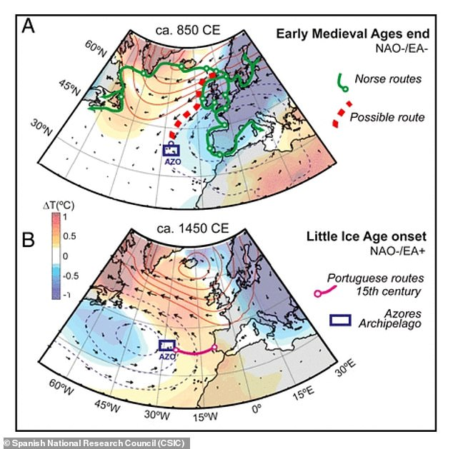 Climatic conditions during that time frame suggest that Norse seamen may have taken advantage of unusually strong north winds and weak westerly winds to move from northern Europe to the Azores in the 8th century.
