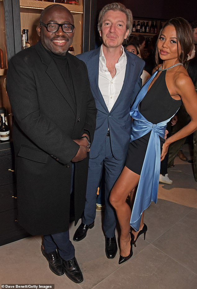 , Emma Weymouth flashes her toned legs in an edgy black-and-blue minidress at Idris Elba's bar launch, The Habari News New York