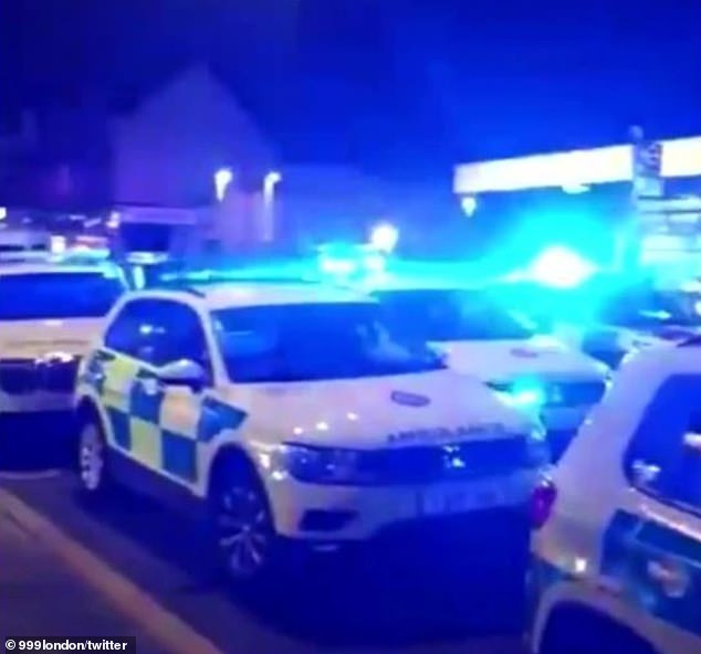 The Metropolitan Police force said officers were called to reports of a shooting on Upton Lane in Newham just before 7pm on Friday. Pictured: Emergency service cars at the scene on Friday