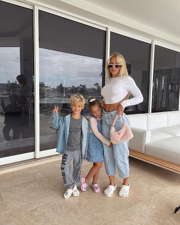 Proud mum:Tammy shares Saskia and her son Wolf, six, with ex-fiancé Reece Hawkins. Pictured, Tammy with her son Wolf (left), and daughter Saskia (centre)