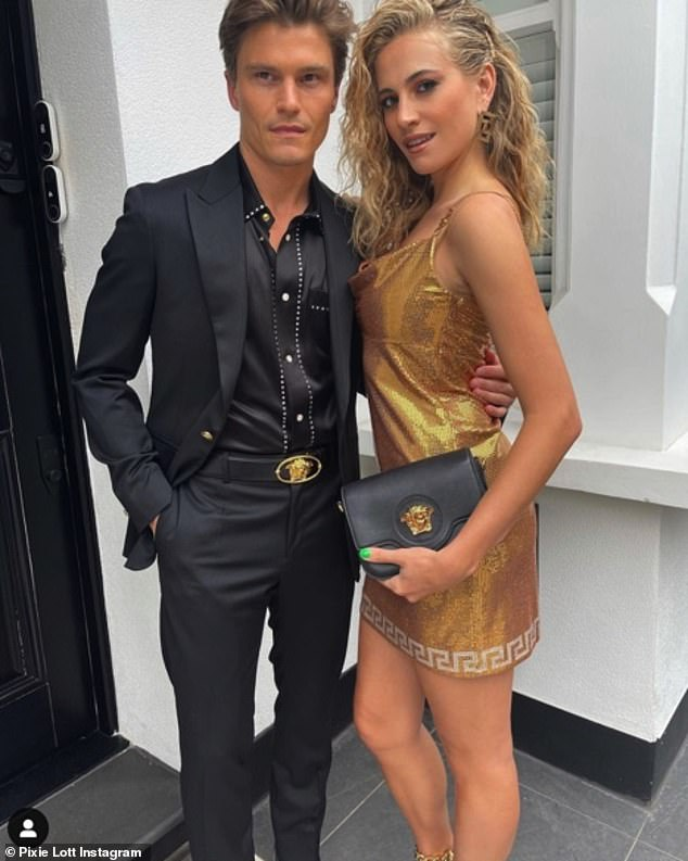Future plans: Pixie's sighting comes after she recently revealed she wants to have a 'big family' with her fiancé, Oliver Cheshire, 32 (pictured)