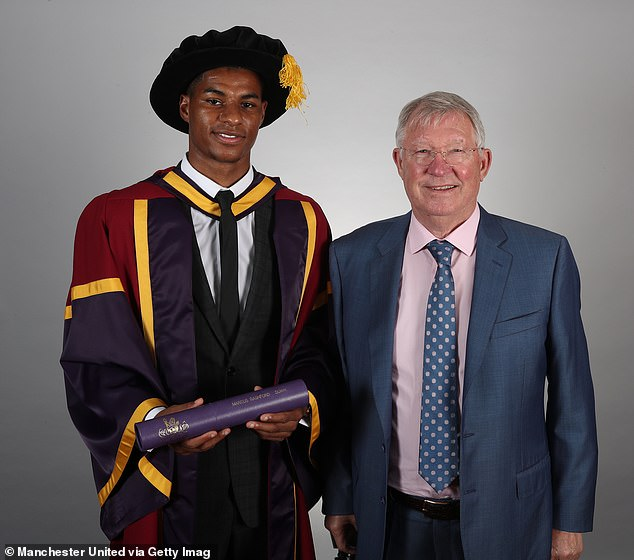 Rashford received a honorary doctorate from the University of Manchester on Thursday