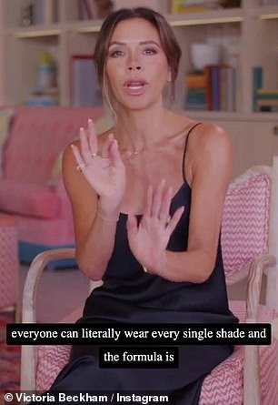 Cheeky Posh! She finished saying: 'So, we tested our cheeky shades on countless skin tones. Everyone can literally wear every single shade and the formula is to die for'