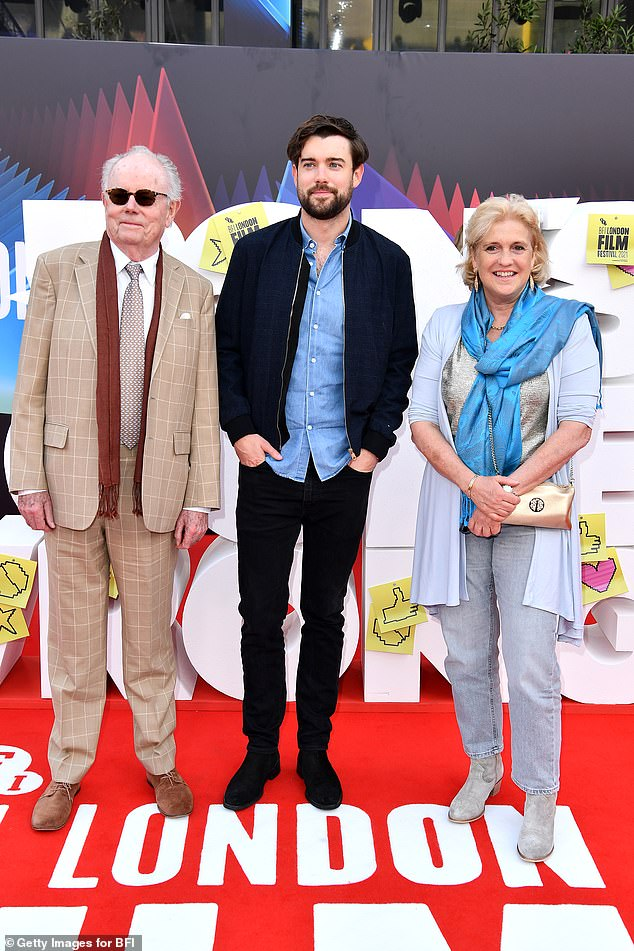 Family outing: The comedian, 33, is joined by his father Michael and mother Hilary as they pose for the red carpet during London's Film Festival
