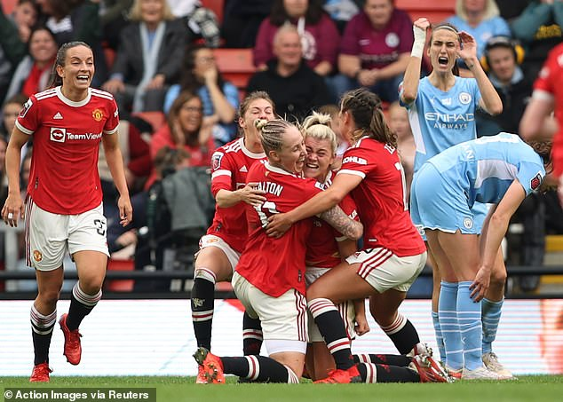 The game was turned on its head when Alessia Russo (centre of the hug) drove in from 15 yards