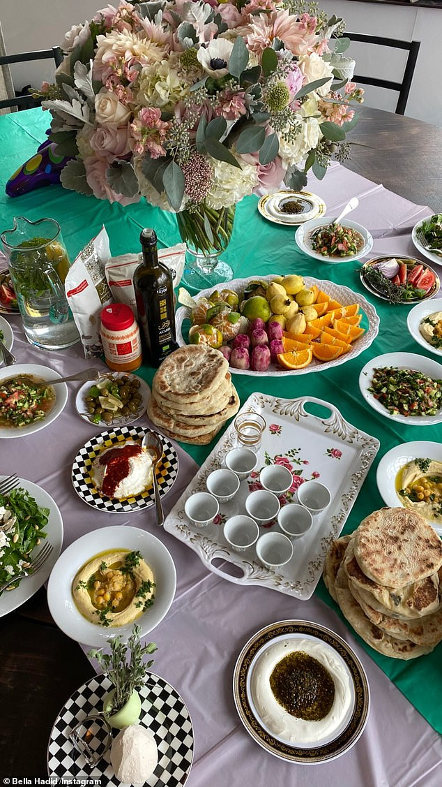 Spread: Bella and her family indulged in a large mediterranean feast with some special Palestinian delicacies she showed off
