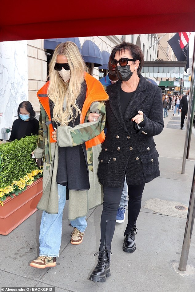 Family affair: The 65-year-old matriarch looked chic as ever wearing an all-black ensemble as she met up with Khloe, 37, ahead of Kim's big debut with Saturday Night Live.