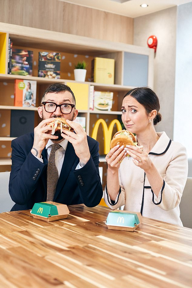 Barney Calman and Eve Simmons, pictured, both try McDonald's new meat-free burger McPlant at a branch in East Finchley ahead of its official launch on Wednesday
