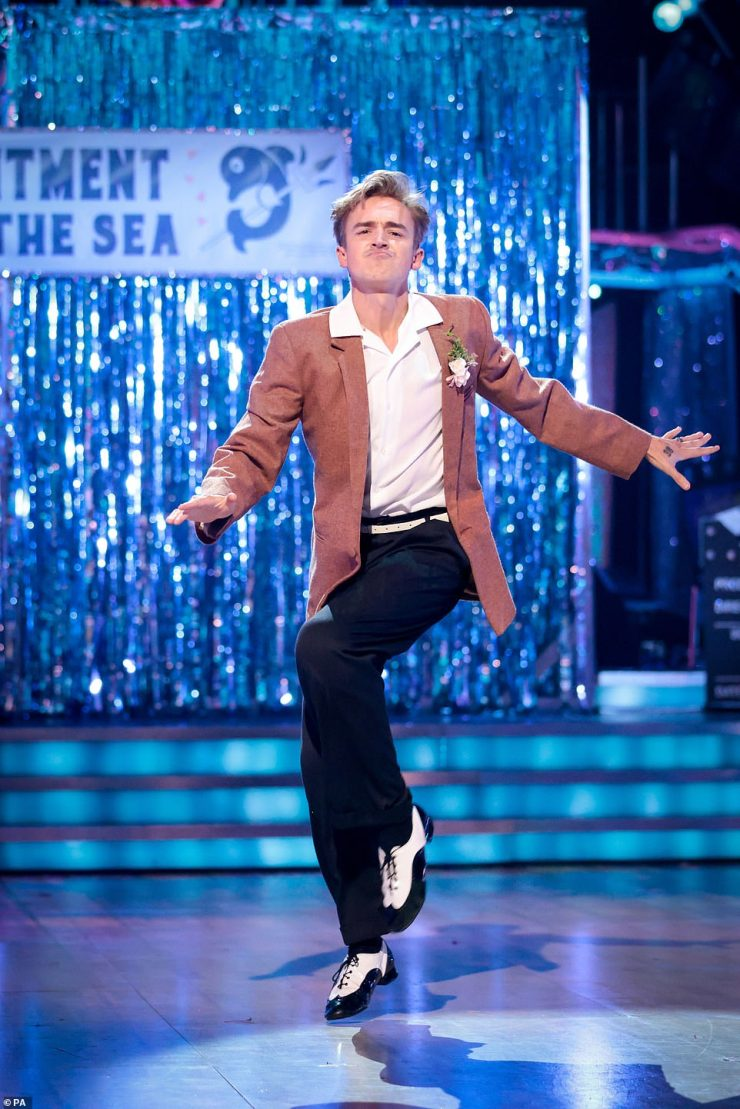 Looking good:The McFly singer, 36, and the Welsh dancer, 31, performed an energetic jive to Chuck Berry's Johnny B Goode from Back To The Future, in the hope that they can win enough votes to advance to Week Four