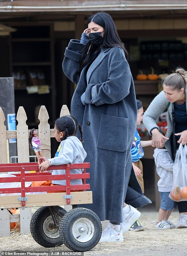Tis the season: Kylie Jenner didn't let anything stop her from her annual tradition of visiting the pumpkin patch with her little girl as the pair were spotted heading in to Underwood Family Farms this week