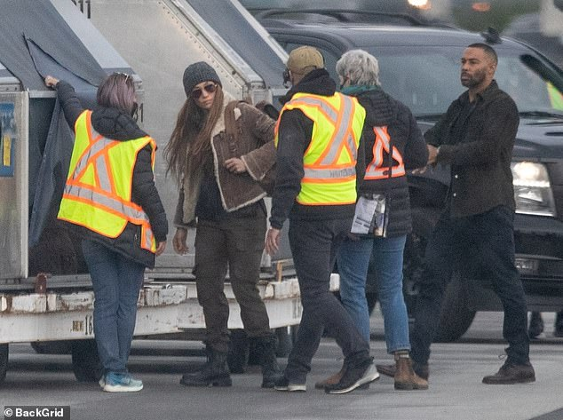 Hard at work: In recent days Jen has been seen in Vancouver, Canada working on a new film called The Mother