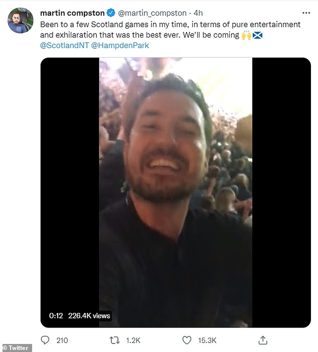 Wow!Line Of Duty star Martin Compston couldn't contain his elation after he watched Scotland storm to victory over Israel in a thrilling World Cup qualifier