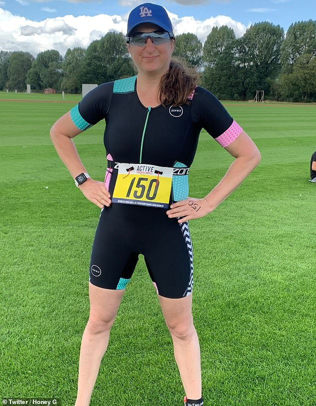Slimmed down:Last year, Honey showed off her new look after completing a charity triathlon, and admitted she'd done more exercise in lockdown than she had 'in her whole life'