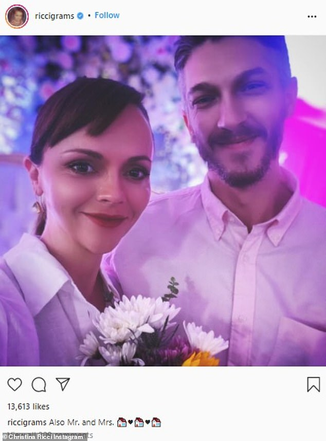 Big announcement:The 41-year-old actress, who is currently pregnant with her second child, revealed the happy news by sharing photos of their intimate nuptials to Instagram on Saturday