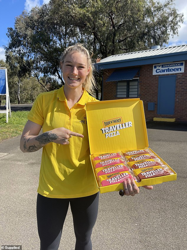 Women's AFL star Tayla Harris (pictured) has given the Traveller Pizzas her tick of approval