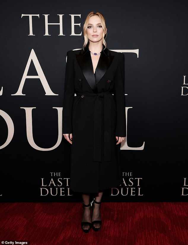 Classic look: The English actress donned a black, double-breasted coat dress with a satin collar for the event at Lincoln Center