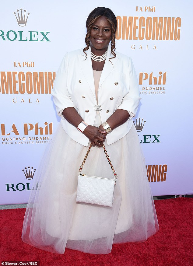 Princess:Good Girls star Retta looked gorgeous in an off white tulle gown and a bright white Chanel blazer