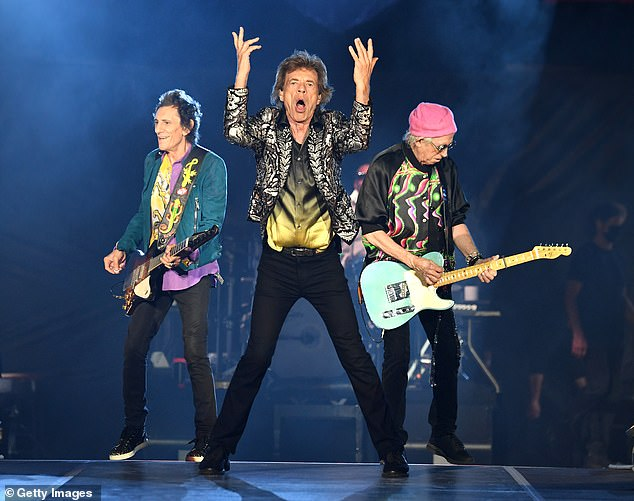 Rock legends:The Rolling Stones put on an energetic performance as they took to the stage at the Nissan Stadium in Nashville, Tennessee on Saturday night