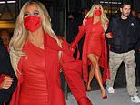 Khloe Kardashian SMOULDERS in a red leather minidress as she arrives to SNL afterparty
